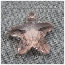 swp0036-zvai-20x21x7 apie 20 x 21 x 7 mm, žvaigždės forma, skaidrus, persikinė spalva, pakabukas, 1 vnt.