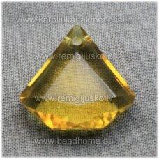 SWP0071-DEIM-21x22x8 apie 21 x 22 x 8 mm, deimanto forma, skaidrus, geltona spalva, su oranžinėu atspalvau, pakabukas, 1 vnt.
