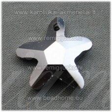 SWP0090-ZVAI-20x21x7 apie 20 x 21 x 7 mm, žvaigždės forma, blizgus, šviesi, sidabro spalva, pakabukas, 1 vnt.