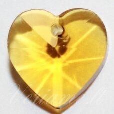 swp0103 apie 10 x 10 x 5 mm, širdutės forma, skaidrus, geltona spalva, pakabukas, 1 vnt.