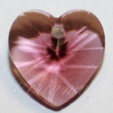 swp0104 apie 10 x 10 x 5 mm, širdutės forma, skaidrus, violetinė spalva, pakabukas, 1 vnt.