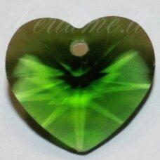 swp0111 apie 14 x 14 x 8 mm, širdutės forma, skaidrus, žalia spalva, pakabukas, 1 vnt.