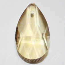 SWP0112 apie 28 x 17 x 10 mm, lašo forma, skaidrus, geltona spalva, pakabukas, 1 vnt.