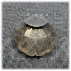 SWP0124-KR-28x28x12 apie 12 x 28 mm, kriauklių forma, skaidrus, šviesi, topazo spalva, pakabukas, 1 vnt.