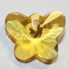 swp0137 apie 12 x 15 x 7 mm, drugelio forma, skaidrus, geltona spalva, pakabukas, 1 vnt.