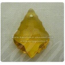 swp0141-bar-28x19x11 apie 28 x 19 x 11 mm, baroko forma, geltona spalva, skaidrus, pakabukas, 1 vnt.