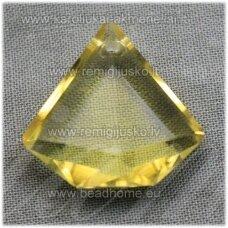 SWP0141-DEIM-21x22x8 apie 21 x 22 x 8 mm, deimanto forma, briaunuotas, skaidrus, geltona spalva, pakabukas, 1 vnt.