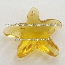 swp0141-zvai-20x21x7 apie 20 x 21 x 7 mm, žvaigždės forma, geltona spalva, pakabukas, 1 vnt.