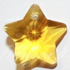 swp0151 apie 13 x 13 x 7 mm, žvaigždės forma, skaidrus, geltona spalva, pakabukas, 1 vnt.