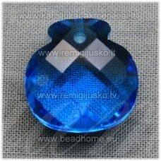 swp0206-1kt-16x17x10 apie 16 x 17 x 10 mm, skaidrus, žydra spalva, pakabukas, 1 vnt.