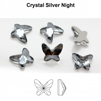 Swarovski 2854 Butterfly 12mm Crystal Silver Night (2 vnt) 2