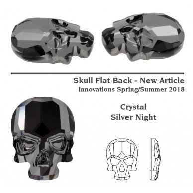 Swarovski 2856 Skull 14x10.5mm Crystal Silver Night unfoiled 2