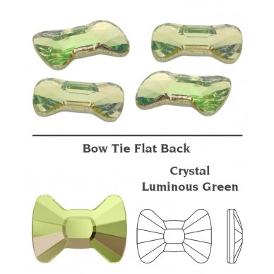 Swarovski 2858 Bow Tie 9x6.5mm Crystal Luminous Green (2 vnt) 2