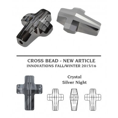 Swarovski 5378 Cross 14mm Crystal Silver Night (2 vnt) 2