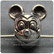 TR0185 apie 13 x 15 mm, metalo spalva, Mickey Mouse, metalinis intarpas, 1 vnt.