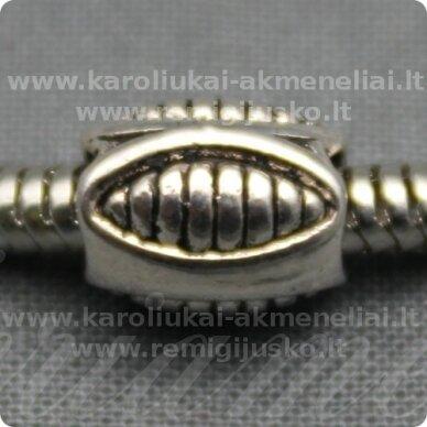 tr0191 apie 9.5 x 7.5 mm, pailga forma, metalo spalva, metalinis intarpas, 1 vnt.