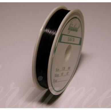 trs0002-0.3 apie 0.3 mm, juoda spalva, troselis, 50 m.