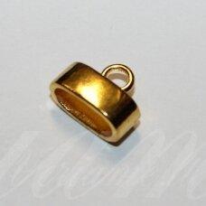 uzd0101 apie 11.5 x 15 x 8 mm, skylė 12 x 5.5 mm, šviesi, auksinė spalva, metalinė, užbaigimo detalė, 1 vnt.
