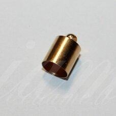 UZD0102 apie 12 x 8 mm, skylių,7.5 mm, šviesi, aukso spalva, metalinė, užbaigimo detalė, 1 vnt.