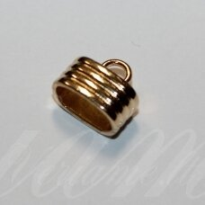 UZD0105 apie 15 x 13 x 9.5 mm, skylių,12.5 x 7 mm, šviesi, aukso spalva, metalinė, užbaigimo detalė, 1 vnt.