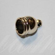 UZD0108 apie 14.5 x 10 mm, skylių,7.5 mm, šviesi, aukso spalva, metalinė, užbaigimo detalė, 1 vnt.