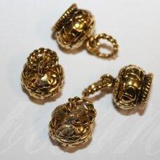 UZD0109 apie 25 x 16 mm, skylių,10 mm, sendinto aukso spalva, metalinė, užbaigimo detalė, 1 vnt.
