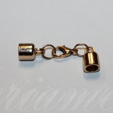 uzd0102 apie 50 x 14 x 8.5 mm, skylė 6.5 mm, šviesi, auksinė spalva, metalinė, užbaigimo detalė, 1 vnt.
