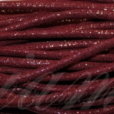virv0005 apie 4 mm, tamsi, raudona spalva, su blizgučiu, 1 m