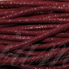 virv0005 apie 6 mm, tamsi, raudona spalva, su blizgučiu, 1 m