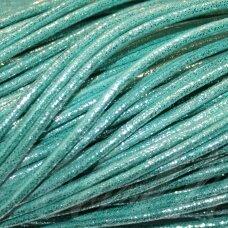virv0006 apie 4 mm, melsvai žalia spalva, su blizgučiu, 1 m