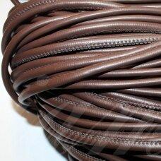 virv0103 apie 4 mm, tamsi, ruda spalva, dirbtinė oda, 1 m