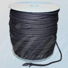 vr0021 apie 3 mm, tamsi, pilka spalva, virvė, rankinėms nerti, 200 m.