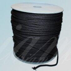 vr0022 apie 5 mm, tamsi, pilka spalva, virvė, rankinėms nerti, apie 200 m.