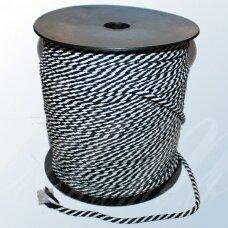 vr0089 apie 5 mm, balta spalva, juoda spalva, virvė, rankinėms nerti, apie 200 m. x 2  /  2 vnt