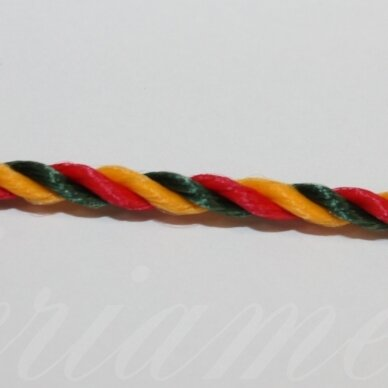 vrsuk0020 apie 3 mm, geltona spalva, žalia spalva, raudona spalva, sukta virvutė, apie 150 m.