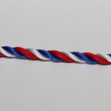 vrsuk0018 apie 3 mm, balta spalva, mėlyna spalva, raudona spalva, sukta virvutė, apie 150 m.