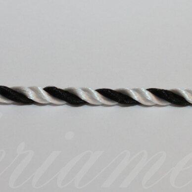 vrsuk0019 apie 3 mm, balta spalva, juoda spalva, sukta virvutė, apie 150 m.