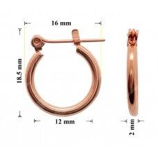 Žalvariniai auskarai ringės 18.5x16mm padengti rausvu auksu