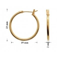 Žalvariniai auskarai ringės 23x19mm padengti auksu
