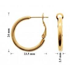 Žalvariniai auskarai ringės 24x23.5mm padengti auksu