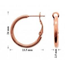 Žalvariniai auskarai ringės 24x23.5mm padengti rausvu auksu