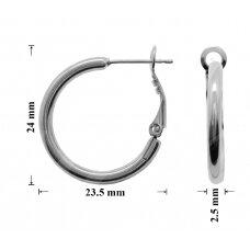 Žalvariniai auskarai ringės 24x23.5mm rodžio spalvos