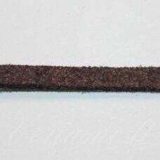 zj0004-2x3 apie 2 x 3 mm, tamsi, ruda spalva, zomšinė juostelė, 1 m.