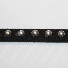 zj0011-5x2 apie 5 x 2 mm, juoda spalva, akutės sidabrinė spalva, zomšinė juostelė, 1 m.