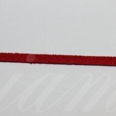 zj0021-1.5x2.5 apie 1.5 x 2.5 mm, raudona spalva, zomšinė juostelė, apie 1 m.