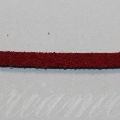 zj0006-2x3 apie 2 x 3 mm, raudona spalva, zomšinė juostelė, 1 m.