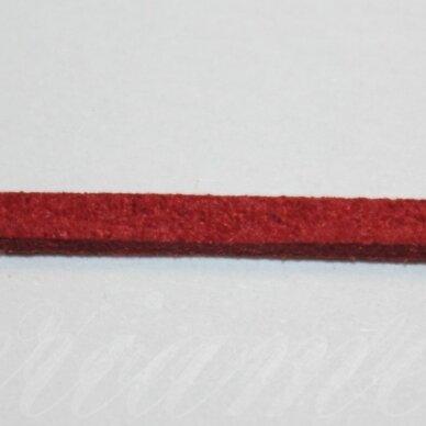 zj0020-2.5x2 apie 2.5 x 2 mm, tamsi, raudona spalva, zomšinė juostelė, apie 1 m.