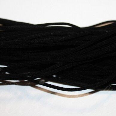 zjtusc0100-2.5 apie 2.5 mm, juoda spalva, apvali, tuščiavidurė, zomšinė juostelė, 1 m.