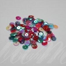zvy0001- about 6.5 x 0.5mm, disk shape, mix colors, 10 g.