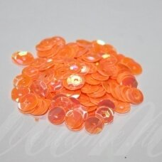 zvy0010- about 6.5 x 0.5mm, disk shape, orange color, 10 g.